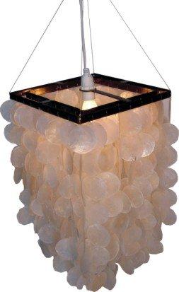 Guru-Shop Deckenlampe/Deckenleuchte Sabah, Muschelleuchte aus Hunderten Capiz, Perlmutt-Plättchen, Weiß, Muschelscheiben, Farbe: Weiß, 40x30x30 cm, Oceanlights Muschelleuchten