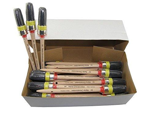 30 x TOP-Ringpinsel Gr. 4, schwarze reine Chinaborste, roher geschliffener Holzstiel mit Loch, Vorband aus Kunststoff, Nickelring, Made in Germany!