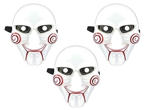 Lot de 3 Masque SAW horreur diable fantôme déguisement HALLOWEEN COSPLAY (Alsino Mas-04 ) accessoires, Parfait pour les fêtes, carnavals, Halloween, fête costumée, a sangle élastique, facile à