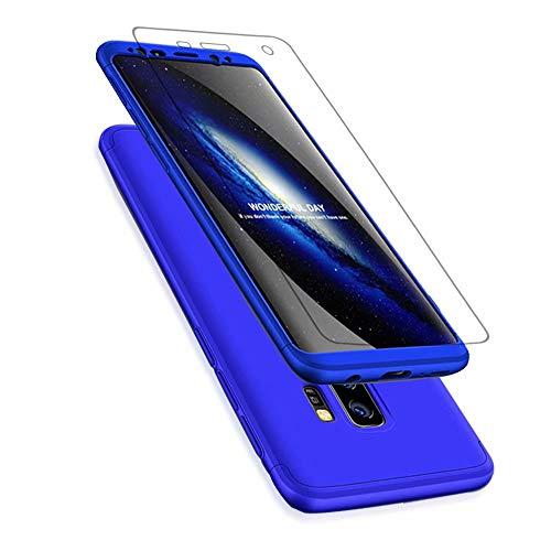 Preisvergleich Produktbild Samsung Galaxy S9+ / S9 Plus Hülle + Displayschutzfolie,  Lanpangzi Schutzhülle PC Hartschale 360 Grad Full-Cover Anti-Kratz Stoßfänger Case mit Screen Protector, Blau