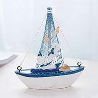 YUOKI Sailing Boat Model Toys Office Mini Props Children den Nautical Decor Home Mediterranean Style Bedroom Gift Furnishing Retro(4)