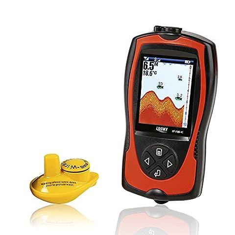 Lixada Détecteur de Poisson Portable LCD 2.4inch Rechargeable 2-in-1 Wireless Sonar Transducteur Profondeur Locator ICE Ocean Bateau Fish Finder