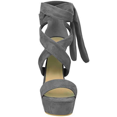 Alto Abertos Party Sapatos De Planalto Block Cinza Camurça Ata Amarrar Salto Senhoras Dimensionar Acima Arte Botas q8FFPw