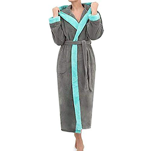 Damen Bademantel mit Kapuze - Oeko TEX Zertifiziert - Coral Fleece Hausmantel Saunamantel Morgenmantel für Spa Hotel Gym Urlaub 4 Farbe S-5XL