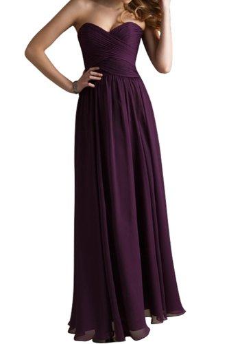 Gorgeous Bride Beliebt Rabatte Herz-Ausschnitte A-Linie Lang Chiffon Abendkleid Festkleid Ballkleid Grape