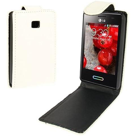 Crazy Horse Texture Funda Vertical Con Tapa Piel Case Funda Para LG Optimus L3 II E340 (White)