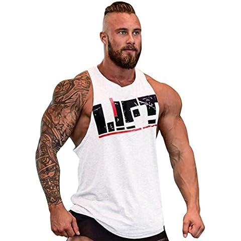 Gillbro Mens T-shirt Muscoli in allenamento bodybuilding Canotta, C,