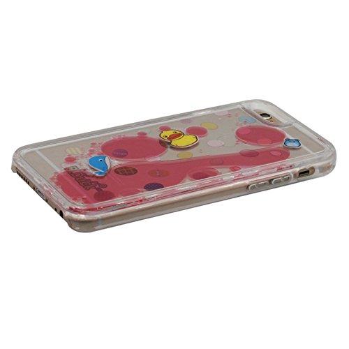 iPhone 6S Plus Dur Étui de protection, Flowable Liquide Rubber Duck Série Coque de Protection Case pour Apple iPhone 6 Plus / 6S Plus 5.5 inch Transparent Case rouge 1
