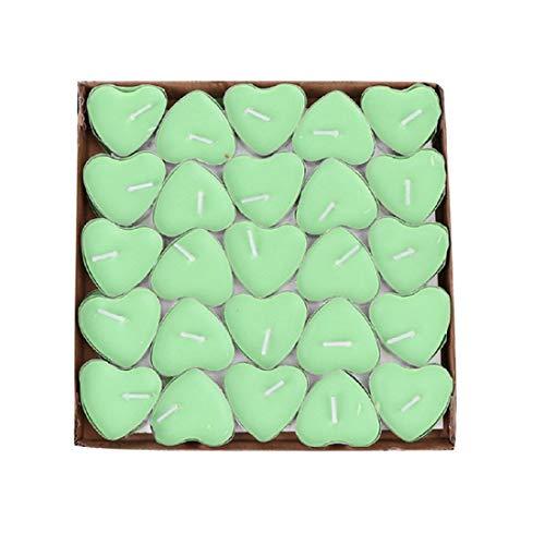 Yalulu 50pcs romantico a forma di cuore senza fumo candele profumate love tea lights san valentino matrimonio festa di compleanno decorazione taglia unica green
