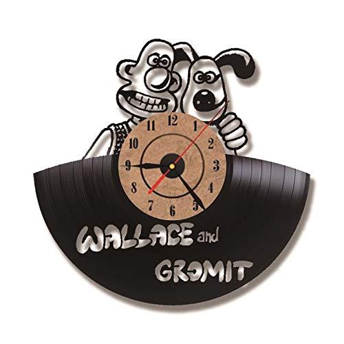 OLIAEO Cartoon Thema CD Rekord Wanduhr Wallace und Gromit Schallplatte Uhren antike kreative handgemachte hängende Uhr, Typ 2,12 Zoll Wallace Antik