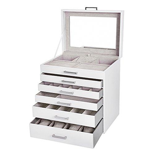 Songmics Coffret Boîte à Bijoux Présentoirs 6 Etages 5 Tiroirs avec Miroir pour colliers bracelets bagues, 8 Montres JBC138