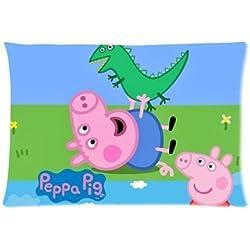 """hey-boss grande diseño de Peppa Pig con cremallera fundas de almohada Funda de almohada de 20""""x 30"""" (doble lados)"""