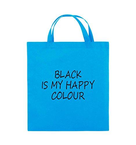 Comedy Bags - BLACK IS MY HAPPY COLOUR - Jutebeutel - kurze Henkel - 38x42cm - Farbe: Schwarz / Silber Hellblau / Schwarz