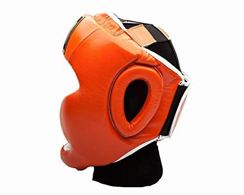 UK Ringmaster Boxen Kopfschutz Echtleder orange Abbildung 2
