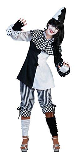 Karneval-Klamotten Clown-Kostüm Harlekin Pierrot Frauen Damen-Kostüm schwarz-weiß Größe 44/46 (Klassische Weiß Clown Kostüm)