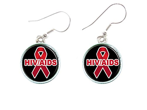 HIV Aids Bewusstsein-Silber Haken Ohrringe Schmuck Initiale Familie Charms