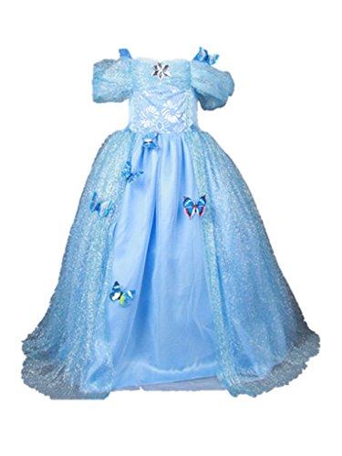 Ecollection Mdchen Rcke Prinzessinnen kleid Hochzeitskleid Skirt Butterfly Princess Dress, Blau - Blau, (Kleid Cinderella Frauen)