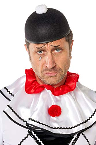 Karneval-Klamotten Kostüm Hut Pierrot schwarz mit Pompon weiß Zubehör Fasching Karneval