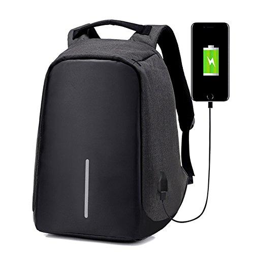 Mochila para ordenador portátil con puerto de carga USB externo, bols
