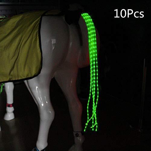 Arzja 10 Pezzi Coda di Cavallo USB A Pagamento Guidato Pettorina per Cavalli Equestre AllAperto Gli Sport 100Cm Equitazione Coda DecorazioneVerde