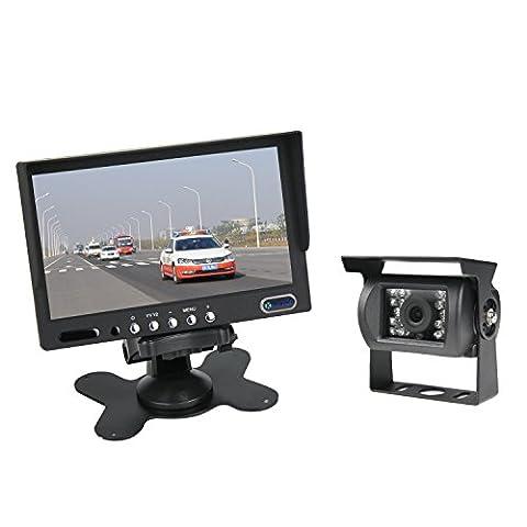 NOUVEUX 7 pouce Ecran camera de recul Kit IP67 camera étanche avec câble 20 mètres (12-24 Volt) pour camion/camping car