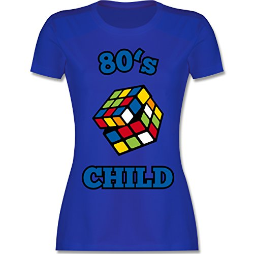 Shirtracer Statement Shirts - 80's Child - Zauberwürfel - Damen T-Shirt Rundhals Royalblau