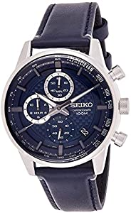 Seiko Mens Quartz Watch, Analog Display and Leather Strap SSB333P1