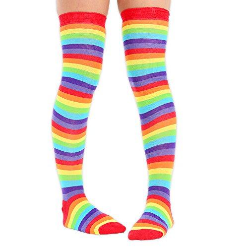 Overknee-Strümpfe für Damen, komplett gestreift, Größe: 41-41,5 Rainbow Bright