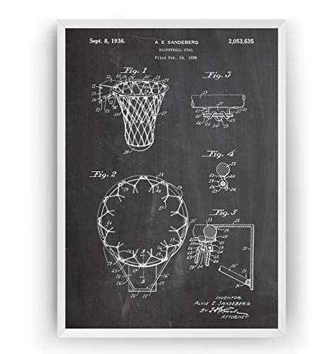 Patent Poster - Basketball Hoop Jahrgang Drucke Drucken Bild Kunst Geschenke Zum Männer Frau Entwurf Dekor Vintage Art Gifts For Men Women Blueprint Decor - Rahmen Nicht Enthalten ()