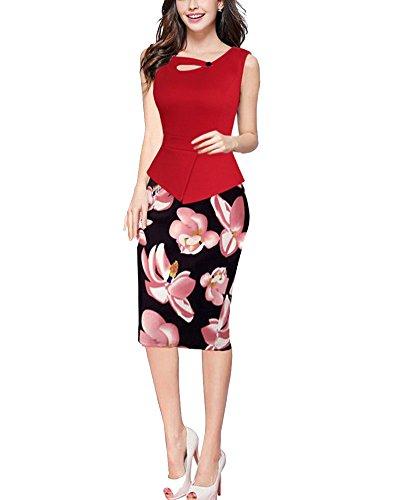 Donna Vestiti Elegante Stampato Floreale Abito dell'anca Pacchetto Vestito Rosso