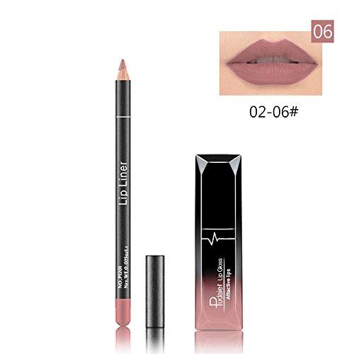HHyyq Lipgloss Lip Liner Set Lippenstift Permanent Lip Liner Mit Bleistift Automatisch Rotierenden...