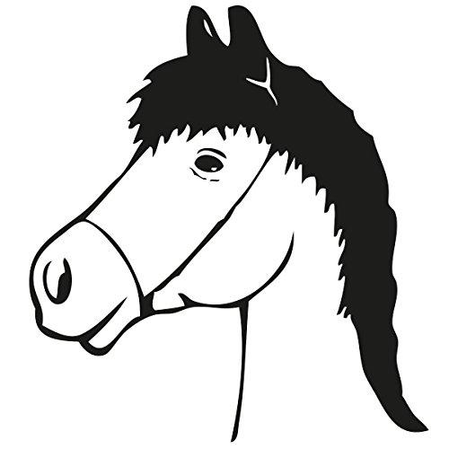 Wadeco Pferdekopf Wandtattoo Wandsticker Wandaufkleber 35 Farben verschiedene Größen, 128cm x 140cm, dunkelrot