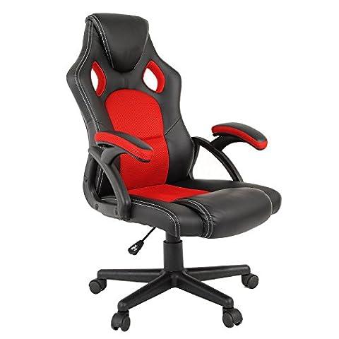 Chaise de jeu, HST Mall haute Dos Racing Style Sports Chaise pivotante Bureau d'ordinateur Chair-pu Cuir et Mesh respirant–ergonomique Design-height réglable