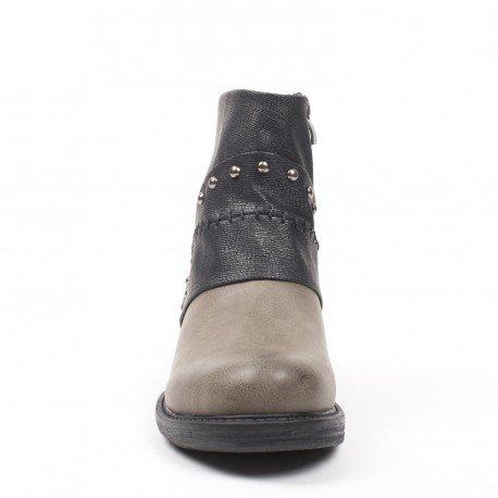 Ideal Shoes - Bottines en similicuir avec empiècement effet nacré Milady Gris