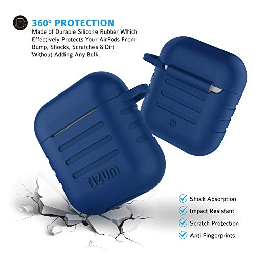 Tizum Apple AirPod Silicone-Shockproof Case Cover with Carabiner Hook (Blue) Image 3