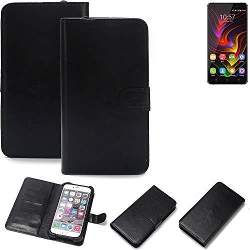 K-S-Trade 360° Wallet Case Handyhülle für Oukitel C5 Pro Schutz Hülle Smartphone Flip Cover Flipstyle Tasche Schutzhülle Flipcover Slim Bumper schwarz, 1x