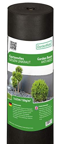GardenMate 1mx25m Rolle 150g/m² Premium Gartenvlies - Unkrautvlies Extrem Reißfestes Unkrautschutzvlies - Hohe UV-Stabilisierung - Wasserdurchlässig - 1mx25m=25m²
