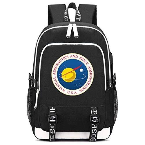 Memoryee NASA Druckrucksack Mittelschultasche Laptop Daypack mit USB-Ladeanschluss Headset-Anschluss und 2 Leitungen Schwarz