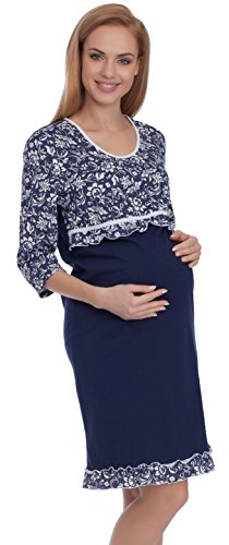 Be mammy camicia da notte premaman be20-108 (blu scuro, xl)