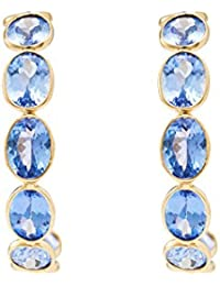 Gehna 18KT Yellow Gold and Tanzanite Hoop Earring for Women