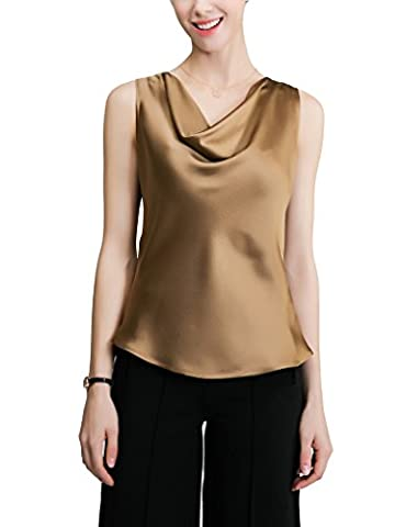 Sticky Fingers Ladies Sleeveless Cowl Neck Back Buttons 100% Silk Tank Top Coffee UK 8/EU 34