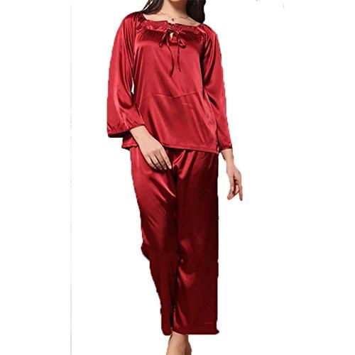 YUYU Femmes Printemps Soie Pyjama Les manches longues Grande taille Mous Poids léger Vêtements de nuit Peignoir Red