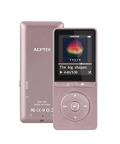 AGPTEK A20 Lecteur Mp3 Autonomie de 70 Heures 8Go,1.8 Pouce écran TFT en Couleur, Or Rose