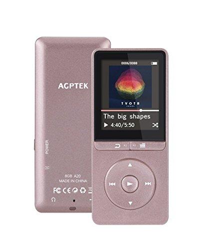 16GB Lossless MP3 Player mit FM Radio und Aufnahmefunktion, 1.8 Zoll TFT Display Sport Musik Player, 70 Stunden Wiedergabe, von AGPTEK A20S, Glänzend Rosegold