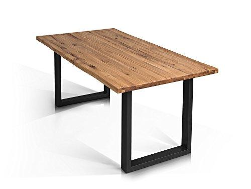 moebel-eins Tobago Baumkantentisch Esstisch Wildeiche Holztisch Massivholztisch Esszimmertisch Tisch Baumkante Metallfuß schwarz lackiert 180 x 90 cm