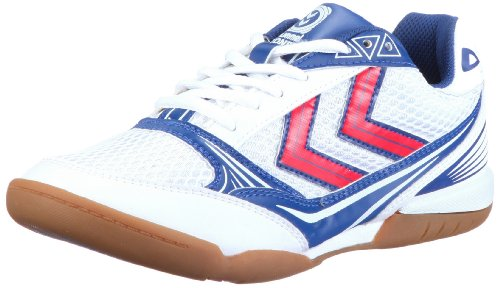 Hummel ROOT JR 60-221 Unisex - Kinder Sportschuhe - Indoor Weiss/WHITE/BLUE/RED/GUM