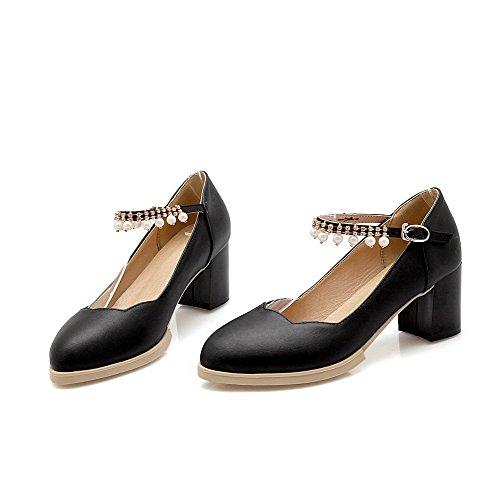 AgooLar Femme Mosaïque Matière Souple à Talon Correct Boucle Pointu Chaussures Légeres Noir