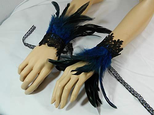 Federarmbänder blau Manschetten Cuffs Vogel Burlesque Pfau -