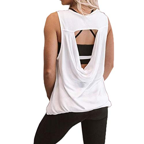 834ae1d3b34 Caixukun Womens Hollow Out Backless Solid Color Fitness Sports Yoga  Activewear Tank Top Summer Loose Sleeveless