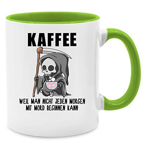 Tasse mit Spruch - Weil man nicht jeden Morgen mit Mord beginnen kann - Unisize - Hellgrün - Q9061 - Kaffee-Tasse inkl. Geschenk-Verpackung